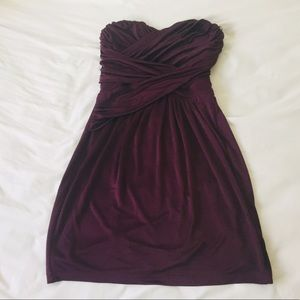 EXPRESS strapless plum purple party dress